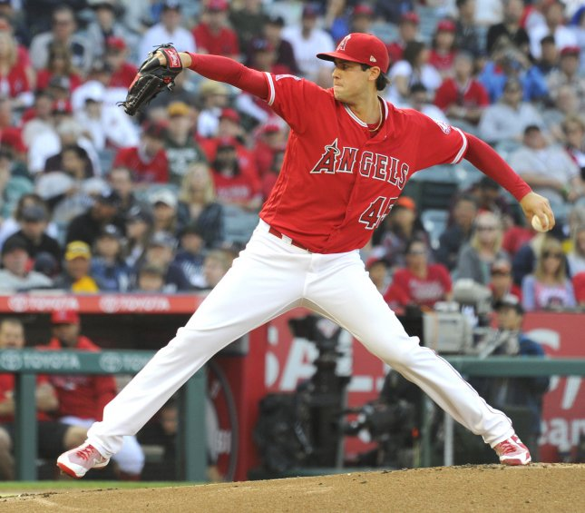 Tyler Skaggs and the Los Angeles Angels battle the Oakland A's on Friday. Photo by Lori Shepler/UPI