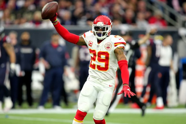 Kansas City Chiefs strong safety Eric Berry (29) holds up the ball after an interception in the first quarter on January 9, 2016 at NRG Stadium in Houston. File photo by Erik Williams/UPI