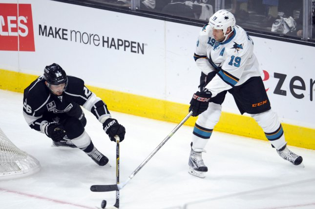 San Jose Sharks center Joe Thornton (19) passed Gordie Howe on the NHL's all-time assists list Monday night. File Photo by Lori Shepler/UPI