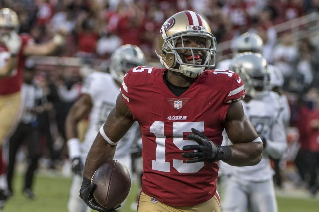 San Francisco 49ers wide receiver Pierre Garcon (15) will enter free agency after the team decided not to pick up his contract option. File Photo by Terry Schmitt/UPI