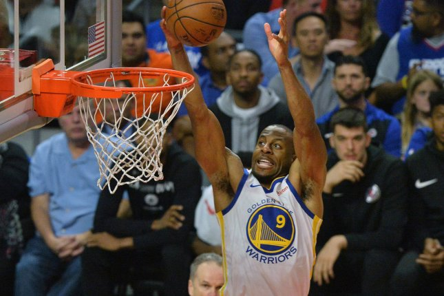 Golden State Warriors forward Andre Iguodala suffered a lower leg injury during Game 1 against the Toronto Raptors. File Photo by Jim Ruymen/UPI