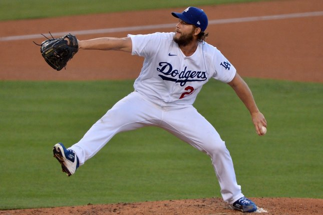 Los Angeles Dodgers starting pitcher Clayton Kershaw had a playoff career-high 13 strikeouts in a 3-0 win over the Milwaukee Brewers Thursday in Los Angeles. File Photo by Jim Ruymen/UPI