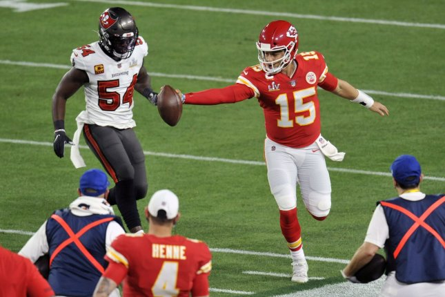 Kansas City Chiefs quarterback Patrick Mahomes (15) underwent surgery for turf toe shortly after his team's loss to the Tampa Bay Buccaneers in Super Bowl LV. File Photo by Steve Nesius/UPI
