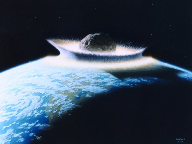 WAX2001022210 - 22 FEBRUARY 2001 - WASHINGTON, D. C. USA: A NASA slide depicts the catastrophic collision of a massive comet or asteroid with earth 250 million years which appears to be the reason 90 percent of all marine species and 70 percent of all land vertebrates abruptly died out. rw/D. Davis/ Nasa UPI
