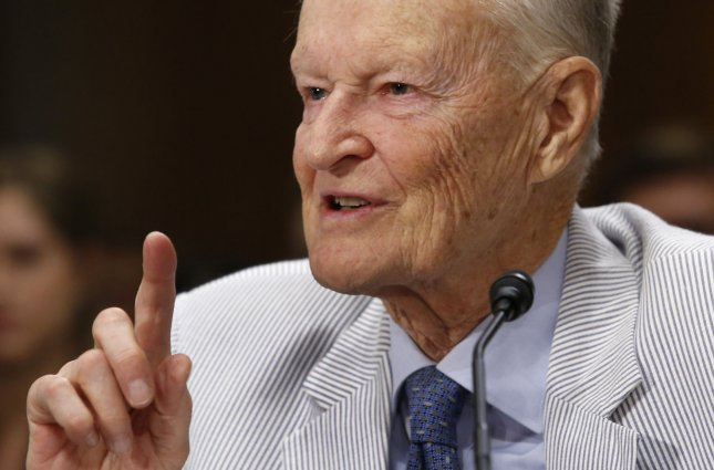 Former National Security Advisor Zbigniew Brzezinski testifies on developments between Russia and Ukraine before the Senate Foreign Relations Committee hearing on Capitol Hill in Washington on July 9, 2014. Photo by Yuri Gripas/UPI
