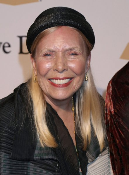 Joni Mitchell arrives on the red carpet before the annual Clive Davis Pre-Grammy Gala in Beverly Hills, Calif., on on February 7, 2015. The singer turns 74 on November 7. File Photo by David Silpa/UPI