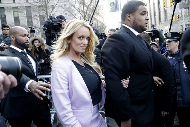 The details of Stormy Daniels' settlement were not revealed. File Photo by John Angelillo/UPI