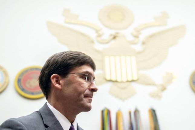 Defense Secretary Mark Esper testifies on the Defense Department's FY2021 budget request during a House Armed Services Committee hearing on Capitol Hill in Washington, D.C. on Wednesday. Photo by Kevin Dietsch/UPI
