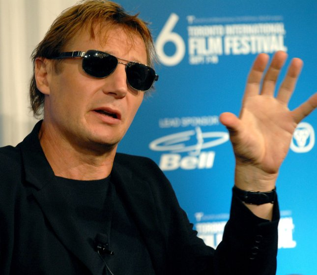 Liam Neeson answers a question from a journalist during the the Toronto International Film Festival press conference for Seraphim Falls at the Sutton Place Hotel in Toronto, Canada on September 13, 2006. (UPI Photo/Christine Chew)