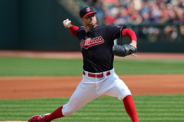 Cleveland Indians Corey Kluber pitches during the first inning against the Kansas City Royals at Progressive Field in Cleveland, Ohio on September 17, 2017. File photo by Aaron Josefczyk/UPI