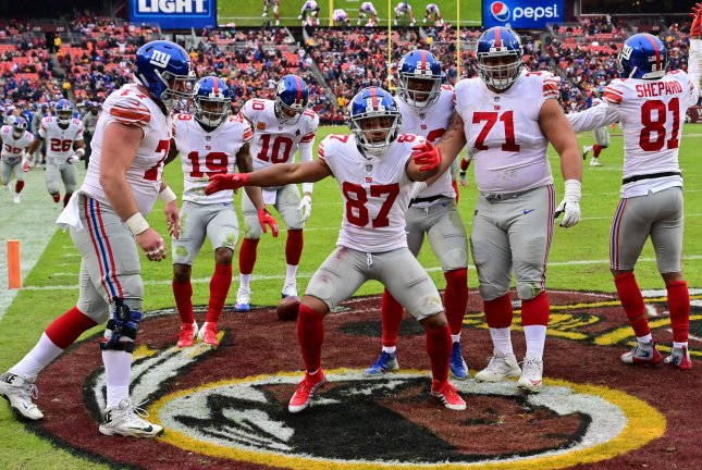New York Giants wide receiver Sterling Shepard (87) suffered a fractured thumb while reaching for a low pass during training camp. File Photo by David Tulis/UPI