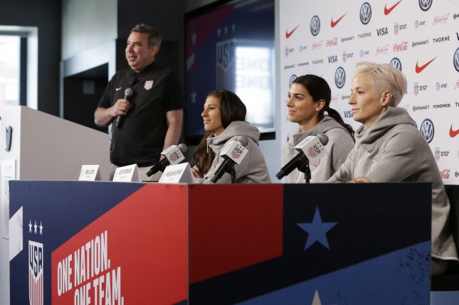 Molly Levinson, a spokesperson for the U.S. women's soccer players, said they plan to appeal the decision. File Photo by John Angelillo/UPI