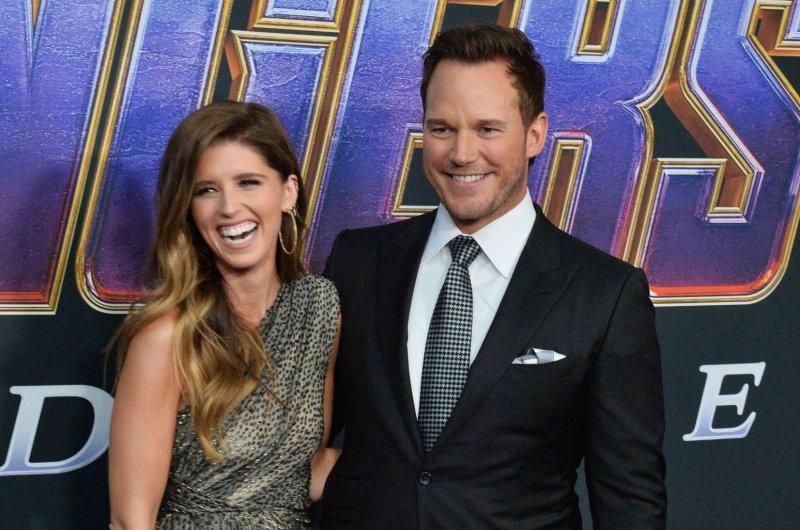 Chris Pratt (R), pictured with Katherine Schwarzenegger, plays Owen Grady in the Jurassic World movies. File Photo by Jim Ruymen/UPI