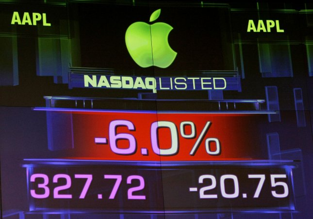 An electronic sign show a decline in Apple stock at the NASDAQ on January 18, 2011 in New York City. Apple announced that its CEO, Steve Jobs, was taking another medical leave which dragged down the Nasdaq composite index. UPI/Monika Graff