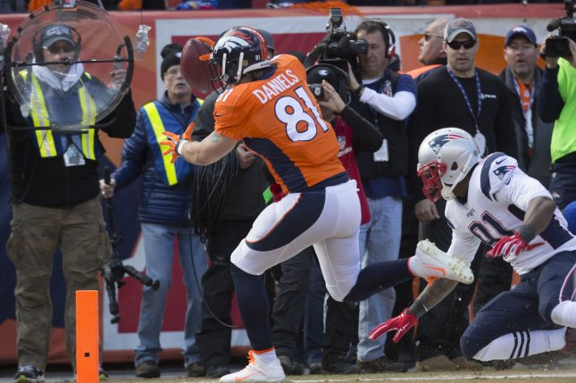 The injury report for both the Denver Broncos and Carolina Panthers lists all players as probable, including Broncos' tight end Owen Daniels. Photo by Gary C. Caskey/UPI