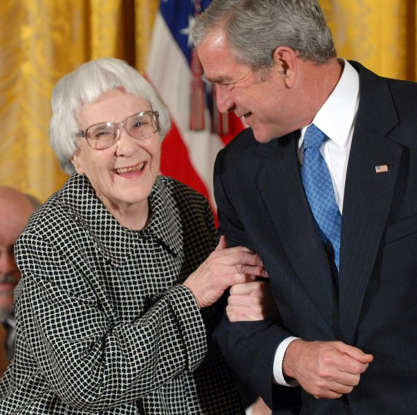U.S. President George W. Bush (R) awards the Presidential Medal of Freedom to Harper Lee, author of To Kill a Mockingbird, in the East Room of the White House in Washington on November 5, 2007. Lee died Friday at 89. File photo by Roger L. Wollenberg/UPI