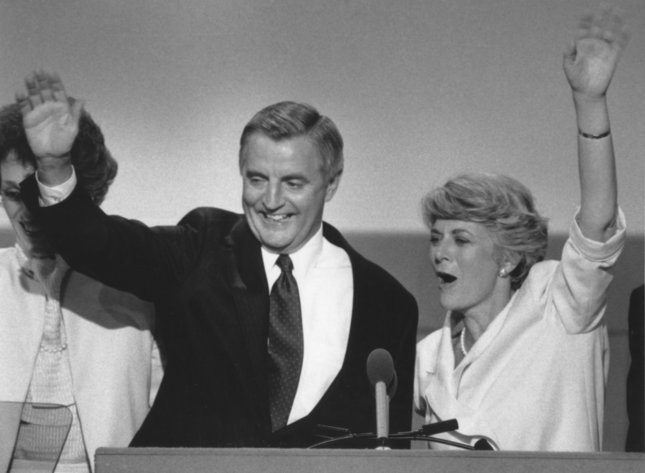 Walter Mondale and his running mate, Rep. Geraldine Ferraro, wave to their fellow Democrats after accepting their nominations at the Democratic National Convention on July 19, 1984, in San Francisco. Photo by Rich Lipski/UPI