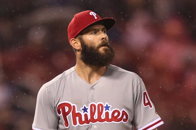 Philadelphia Phillies starting pitcher Jake Arrieta was placed on the 10-day injured list due to a bone spur in his right elbow. File Photo by Bill Greenblatt/UPI