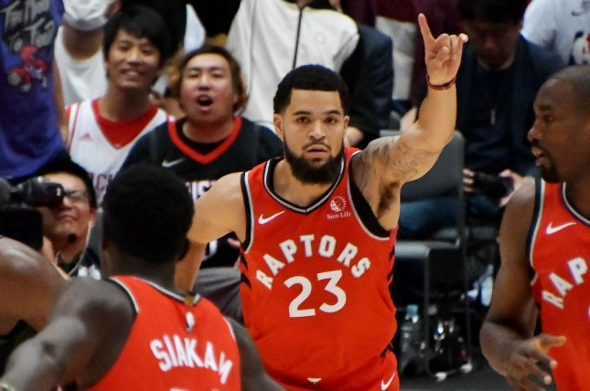 Toronto Raptors guard Fred VanVleet made 11 3-pointers en route to his career-high 54-point performance in a win over the Orlando Magic on Tuesday in Orlando, Fla. File Photo by Keizo Mori/UPI