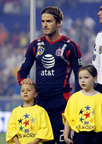 MLS All-Stars Team player David Beckham stands on the field before playing Manchester United at the 2011 MLS All-Star Game at Red Bull Arena in Harrison, New Jersey on July 27, 2011. UPI /John Angelillo