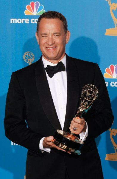 Producer Tom Hanks holds his Emmy Award for outstanding miniseries for The Pacific at the 62nd Primetime Emmy Awards at the Nokia Theatre in Los Angeles on August 29, 2010. UPI/Lori Shepler