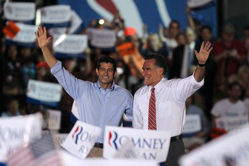 Republican vice presidential nominee Paul Ryan (L) and presidential nominee Mitt Romney in Fishersville, Va., Oct. 4, 2012. UPI/Molly Riley