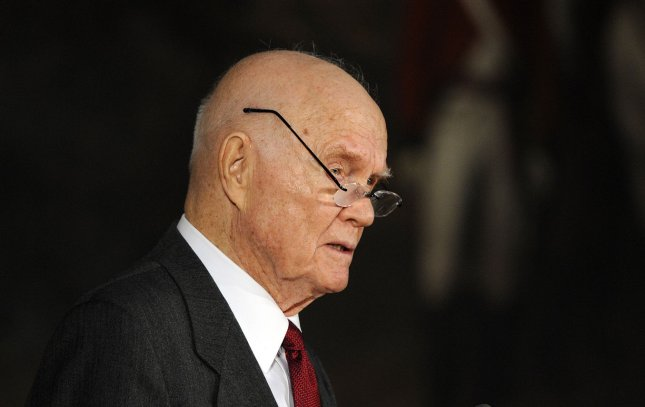 John Glenn speaks during a Congressional Gold Medal Ceremony honoring astronauts John Glenn, Neil Armstrong, Michael Collins and Buzz Aldrin on Capitol Hill in Washington on November 16, 2011. UPI/Roger L. Wollenberg