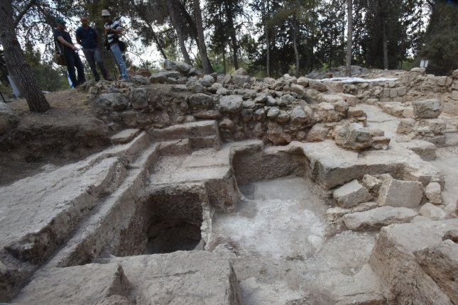 An overview of an archeological site that has revealed a large mausoleum uncovered by the Israel Antiquities Authority while searching for the real location of the Tomb of the Maccabees in Modi'in, Israel, September 21, 2015. Byzantine Period mosaics adorned with a cross were found in the floor of a burial vault believed to be associated with the Tombs of the Maccabees who were exalted saints in the eyes of early Christianity. The Maccabees led the uprising against Greek rule and were responsible for cleansing the impurity from the Second Temple. As yet, archaeological evidence is not currently sufficient to establish that this burial place is of the Maccabees. The Israeli Antiquities Authority has vowed to extend the excavations in hope of finding evidence to confirm that this large mausoleum is the Tomb of the Maccabees. Photo by Debbie Hill/ UPI