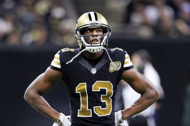 New Orleans Saints wide receiver Michael Thomas (13) watches a replay during the game with the Detroit Lions at the Mercedes-Benz Superdome in New Orleans December 4, 2016. Photo by AJ Sisco/UPI
