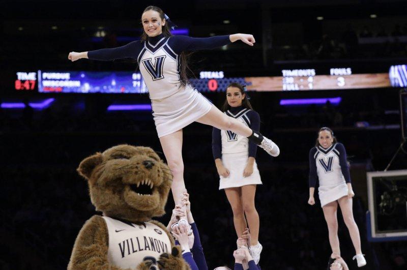Villanova Wildcats cheerleaders performing at Madison Square Garden in New York City. File Photo by John Angelillo/UPI