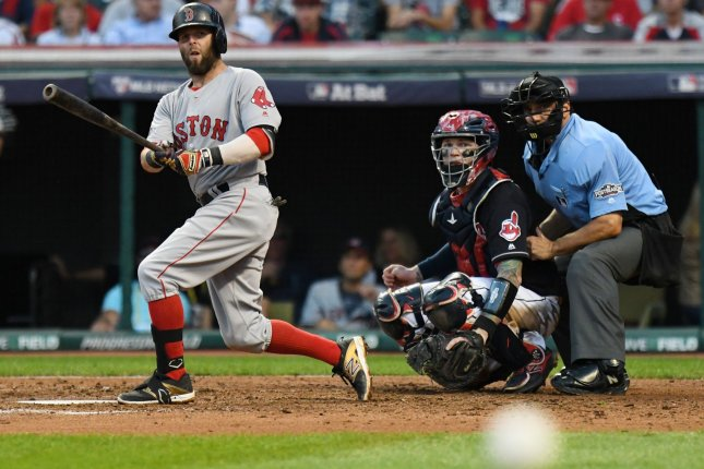 For just the second time in his career, Dustin Pedroia had a walk-off hit, this one to beat the Phillies in the 11th inning. File photo by Kyle Lanzer/ UPI