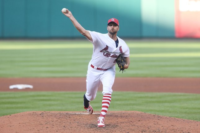 St. Louis Cardinals starting pitcher Adam Wainwright delivers a pitch. File photo by Bill Greenblatt/UPI