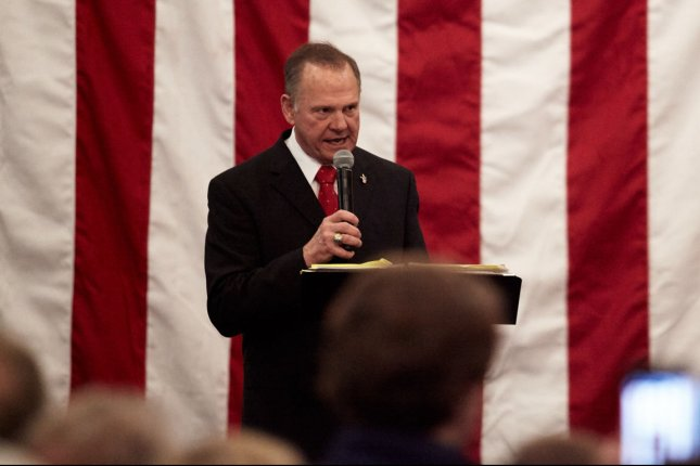 Republican Senate candidate Roy Moore speaks during a campaign event on Monday in Midland City, Ala. Photo by Cameron Carnes/UPI