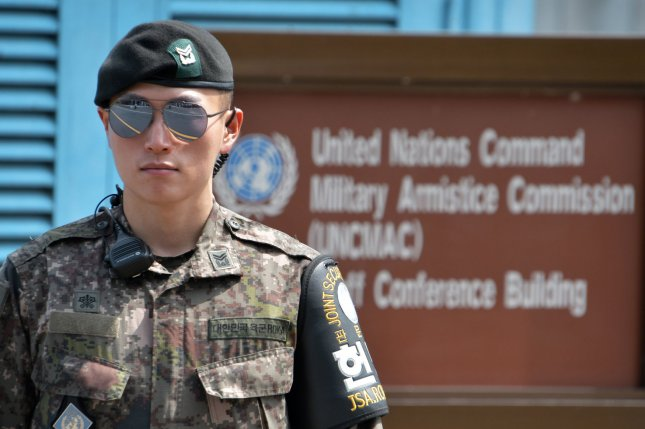 South Korean soldier stands guard at the joint security area of Panmunjom in the demilitarized zone near Paju, South Korea. File Photo by Keizo Mori/UPI