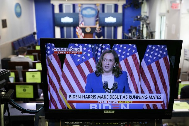A television in the White House briefing room shows Sen. Kamala Harris, D-Calif., speaking on Wednesday after she was introduced as Democratic presidential candidate Joe Biden's vice presidential running mate. Photo by Chris Kleponis/UPI