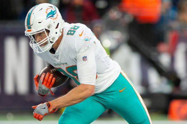 Miami Dolphins tight end Mike Gesicki leads the team in red zone targets and should see more looks going forward because of injuries to other pass catchers. File Photo by Matthew Healey/UPI