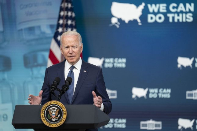 President Joe Biden delivers remarks on the administration's coronavirus response and vaccination program from the Eisenhower Executive Office Building near the White House in Washington, D.C., on Tuesday. Photo by Sarah Silbiger/UPI