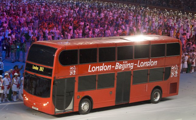 A double-decker bus, symbolizing the journey the torch will now make to London for the 2012 Olympics, in the National Stadium, or Bird's Nest, during the closing ceremony for the 2008 Beijing Olympic Games August 24, 2008. (UPI Photo/Stephen Shaver)