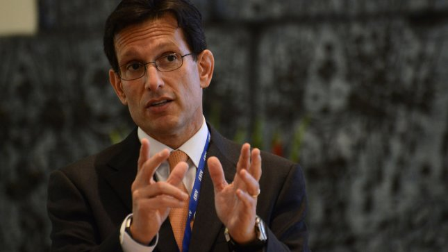 United States House Majority Leader Eric Cantor (R-Va.), speaks at a meeting with Israeli President Shimon Peres, not seen, at the presidential residence in Jerusalem, Israel, August 13, 2013. Cantor is leading a delegation of 26 senior Republicans from the US Congress on an AIPAC trip to Israel. President Peres thanks the American administration for its support in restarting the peace talks with the Palestinians. UPI/Debbie Hill