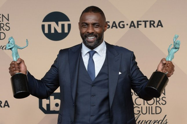 Idris Elba with his awards at the Screen Actors Guild Awards on January 30. The actor voices Shere Khan in The Jungle Book. File Photo by Jim Ruymen/UPI