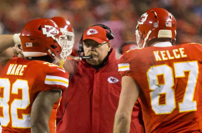 Kansas City Chiefs head coach Andy Reid calls a play in the first quarter of the NFL Playoff against the Pittsburgh Steelers at Arrowhead Stadium in Kansas City on January 15, 2017. Photo by Kyle Rivas/UPI