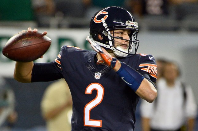 Former Chicago Bears and new San Francisco 49ers quarterback Brian Hoyer throws the ball during the fourth quarter against the Philadelphia Eagles at Soldier Field in Chicago on September 19, 2016. File photo by Brian Kersey/UPI