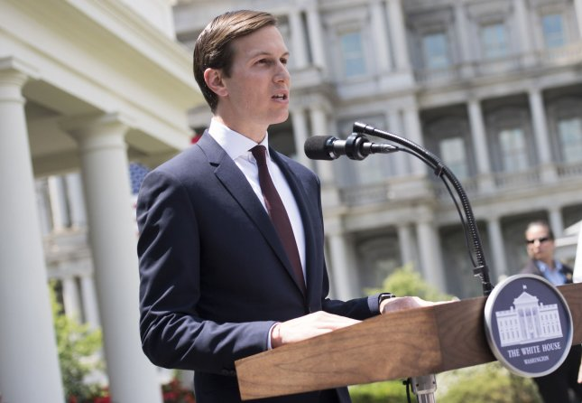 Jared Kushner speaks to the media outside the White House after meeting with the Senate Intelligence Committee on Monday. Photo by Kevin Dietsch/UPI