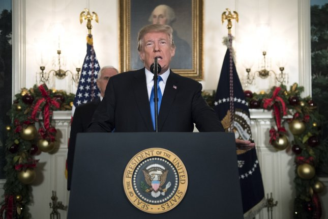 President Donald Trump announces that the United States will recognize Jerusalem as the capital of Israel and will eventually move its embassy there, during a statement to the press in the Diplomatic Reception Room at the White House on Wednesday. Photo by Kevin Dietsch/UPI