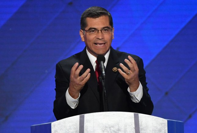 California Attorney General Xavier Becerra speaks at the Democratic National Convention at Wells Fargo Center in Philadelphia, Pennsylvania on July 28, 2016. On Friday, Becerra issued a directive to help undocumented students at public schools avoid ICE. File Photo by Pat Benic/UPI