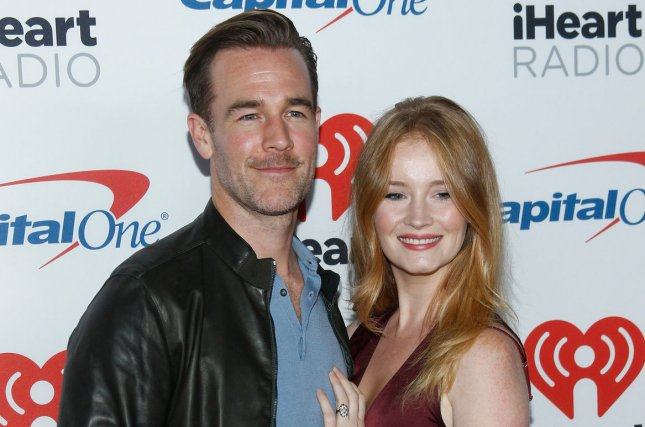 James Van Der Beek (L), pictured with Kimberly Brook, penned an emotional note after Brook went public about her miscarriages. File Photo by James Atoa/UPI