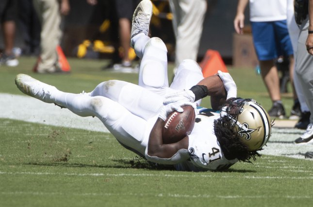 New Orleans Saints running back Alvin Kamara is tackled during a game against the Jacksonville Jaguars on Sunday at TIAA Bank Field in Jacksonville, Florida. Photo by Joe Marino/UPI