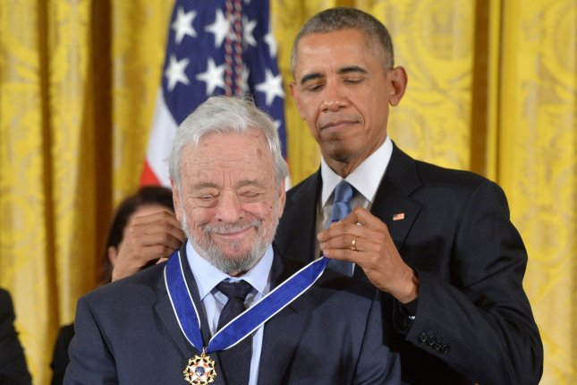 President Barack Obama awards the Medal of Freedom to composer Stephen Sondheim during a ceremony at the White House in Washington, D.C., on November 24, 2015. The composer turns 90 on March 22. File Photo by Kevin Dietsch/UPI