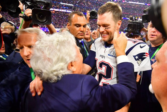 Former New England Patriots quarterback Tom Brady (12) agreed to sign with the Tampa Bay Buccaneers last week after spending two decades with the Patriots. File Photo by Kevin Dietsch/UPI