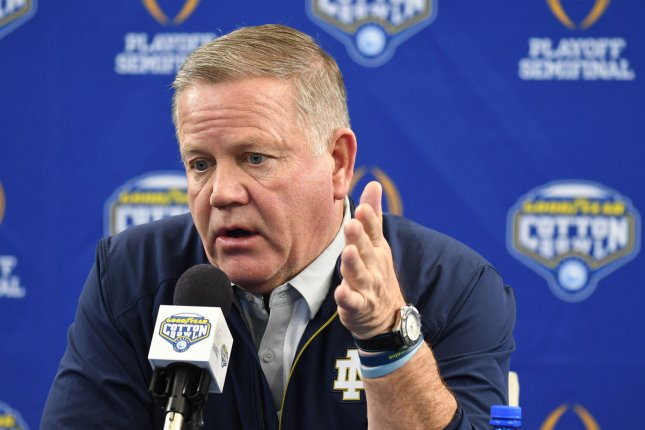 Notre Dame head coach Brian Kelly and the Fighting Irish football team will start voluntary workouts June 22 as part of a three-phase plan to return to campus. File Photo by Ian Halperin/UPI